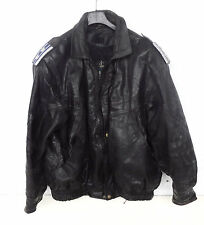 VINTAGE LEATHER POLICE JACKET BLACK WITH PAGO COLONEL Size XL NOSTALGIA
