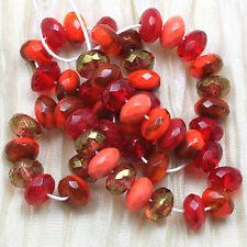 50pcs!!! 7x4mm ARIZONA / CORAL LUMI MIX  GEMSTONE CUT CZECH GLASS Beads