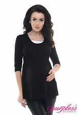 Purpless Maternity Comfortable Pregnancy Top Tunic Dress With Inner Fabric D5200 Black UK 14