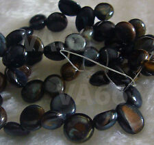 "DIY 15"" Blue Tiger Eye Gemstone Water Drop Pebble Shape Briolette Nuggets Batu"
