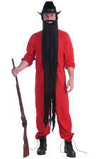 """Gangster Biker Hillbilly Funny 1980s Black Men Costume 48"""" Long Beard"""