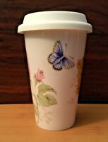 Lenox Butterfly Meadow Thermal Travel Cup Mug with Silicone Lid -10 oz