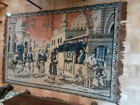 """Vintage Arabic Middle Eastern Tapestry RUG 50"""" X 77"""" Desert Camels 3"""" Fringe"""