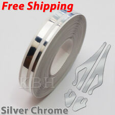 "12mm 1/2"" Double Pin Striping Stripe Vinyl Tape Decal Sticker Car Silver Chrome"