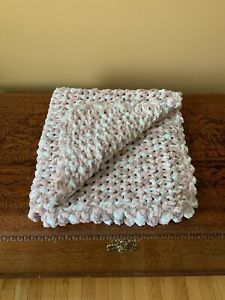 Handmade Blanket By Local Artisan. Made For You Brand New. Pink/White, 32x33in.