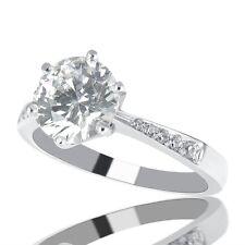 1 Carat F SI1 Diamond Engagement Ring Round Cut 14K White Gold Enhanced