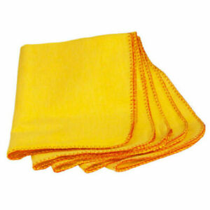 10 YELLOW DUSTERS 100% COTTON 27x32cm For furniture, polishing, car Non-Allergen