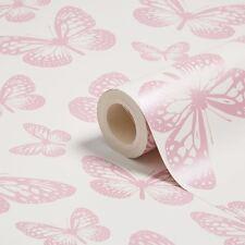 BUTTERFLY WALLPAPER WHITE & PINK (FD40275) NEW BUTTERFLIES FINE DECOR BEDROOM