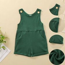 Toddler Kid Baby Boys And Girls Summer Soild Sleeveless Jumpsuit Romper Clothes