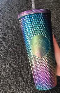 2021 Starbucks China Bling Purple Green Oil Slick Diamond Studded Tumbler