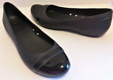 Crocs Ballet Flats Size 11 Womens Black Patent Look Cap Toe Slip On 12300