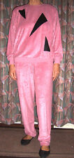 TWO Pyjama/Loungesuit Faux Snakskin trim Med Pink, Green, Coral Velour/Towelling