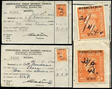 GB KG6 COMMERCIAL OVERPRINTS 1942-43 HORNCHURCH UDC 2 ITEMS UPPERCASE OPT...L2