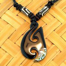 Halskette Knochenanhänger  Black mit Perlmutt der Abalone am Lederband