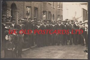 Kent -  WHITSTABLE, Group of WW1 Sailors in Street,  Real Photo, 1914