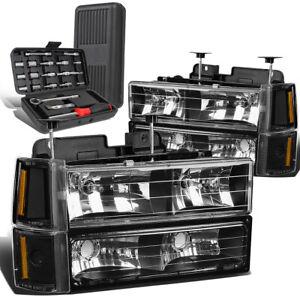 For 1994-2000 GMC GMT400 C10 C/K Pickup Black Amber Signal Headlight+Tool Box