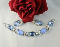 Vintage Blue Rhinestone Faux Pearl Bracelet & Earrings  Set CAT RESCUE