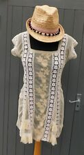 TOPSHOP Boho/Vintage Mini Dress/Top Tulle Net/Lace w/ Frills Beige/Cream - 8