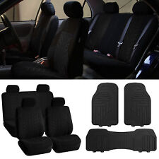 Car Seat covers Black Combo with Heavy Duty Black Floor Mats