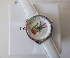 Designer Lacoste Ladies Victoria Leather Strap Multicoloured Stone Set Watch NEW
