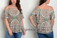 T377 OLIVE GREEN COLD SHOULDER LACE UP FRONT KNIT TOP WOMEN PLUS SIZE ~ 2X 18/20