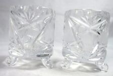 Vintage Clear Glass Footed Votive Tea Light Candle Holders 2.75 Inches Set Of 2