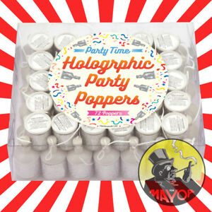 72 Holographic Party Poppers Party Supplies Favours Party Bag Fillers Premium