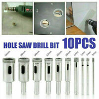 10 pcs 3-18mm Diamond Tool Drill Bit Hole Saw Set Glass Ceramic Marble Tile Kit