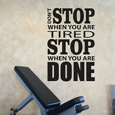 Don't Stop When You Are Tired Inspirational Quote Sticker Sport Gym Art Decals