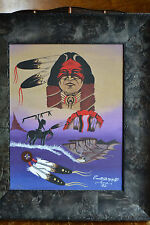 Indian Art Wall Frame Picture Print Kiowa Emmet Horse Painting Feathers