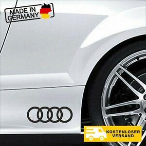2x Audi Ringe  Aufkleber, Sticker,15 x 5 cm Aufkleber,JDM, Weiß und Schwarz