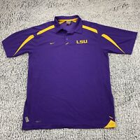 Nike LSU Tigers Mens Purple Short Sleeve Polo Shirt Size Large Nike Fitdry