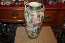 Antique Japanese Asian Pottery Vase Painted Birds Trees Sunrise Large Vase