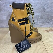 Diesel Women's D-Vibe MB yellow Leather Wedge Platform Ankle Boots Size 7