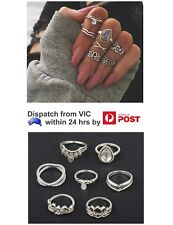7Pcs Silver Boho Fashion Ring Stack Above Knuckle Band Mid Finger Midi Rings Set