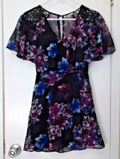 Charlotte  Russe size XS extra small--Black Flowered Dress
