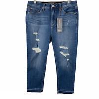 Torrid Sky High Skinny Crop Jeans Distressed Raw Hem Blue NWT Women's Size 16