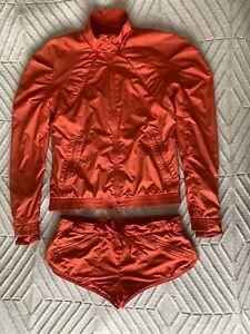 Stella Maccartney Adidas Red Running Two Piece Suit Waterproof Jacket Short M 38