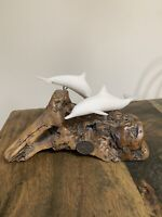 Vintage John Perry 2 Playing Dolphin Sculptures Figures On Burl Wood Drift