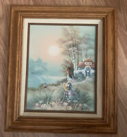 Dalton signed painting, Oil on Canvas, 🌺By The Water Cottage Scene, Framed
