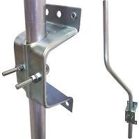 3' Cranked 'SWAN' Neck TV Aerial Pole/Mast & Wall Clamp Facia Bracket –Mount Kit