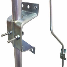 3' Cranked 'SWAN' Neck TV Aerial Pole/Mast & Wall Clamp Facia Bracket –Mount Kit