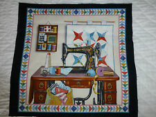 VINTAGE Sewing Machine Fabric Cotton Craft Panel Quilting Stars on Wall
