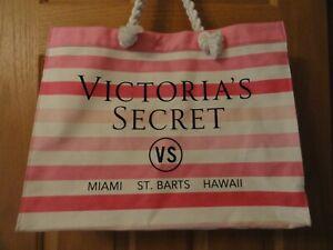 Victoria's Secret Tote Beach Bag Pink White Stripe Rope Handles