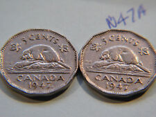 1947 Maple Leaf,1947 Canada 5c,Five Cents, Nickel (2 coin lot)