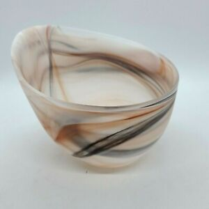 Shiraleah Angled Serving Bowl Multi Color Frosted Alabaster Modern Glass Turkey