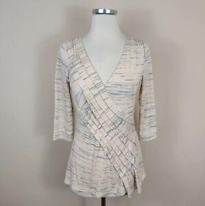 Deletta Anthropologie V-Neck Knit Top Pleated White Blue S Small