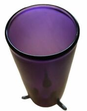 Purple Footed Art Glass Vase Vintage With Feet Support Hand Made Medium 19.5 CM