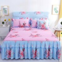 Room Flower Floral Bed Skirt Pillowcase Dust Ruffle Bedspread Bedding