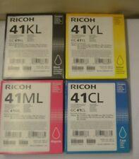 Ricoh Afico GC 41K L 41C L 41M L 41YL 41 Black Yellow Magenta Cyan Genuine  2016